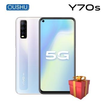 Перейти на Алиэкспресс и купить Оригинальный vivo 5G Y70s смартфон Exynos 880 4500 мАч большая батарея 18 Вт Android 10,0 мобильный телефон 48MP Тройная камера лицо ID телефон