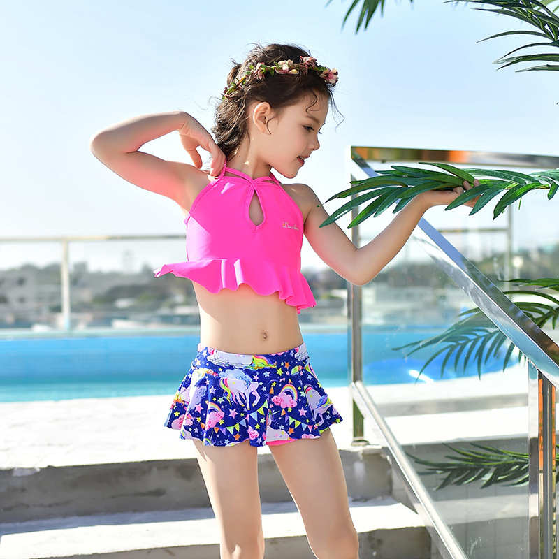 2018 New Style Hot Sales Two-piece Swimsuits Department Of Neck Mini Skirt Small Qing Xin Wen Quan Solid Color Boxer Girls KID'S