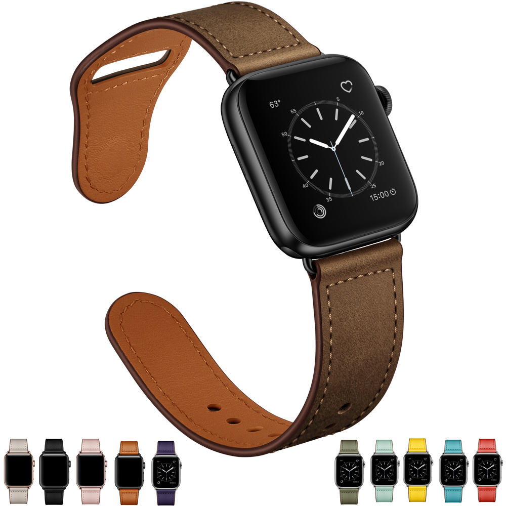 Retro Dark Brown Leather Band Watch For Apple Watch 4 44 Strap Viotoo Genuine Leather Men WatchStrap For Iwatch 42mm 44mm Bands
