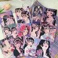 12 blätter Japanischen Cartoon Mädchen Dekorative Karte Wasserdichte Doppelseitige Illustration Postkarte Diy Zimmer Wand Aufkleber Foto Requisiten