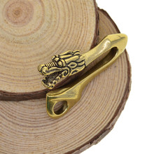 Solid Brass U Hook Key Loop Pocket Clip with Ring, Simple Style Car Keychain for Men Women(Dragon Head Design)(China)