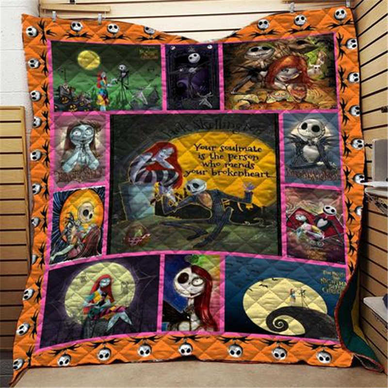 Anime Skull Jack Skellington Horror Printed Home Sofa Cover Quilt Queen King For Bed Soft Travel Hotel Warm Blanket Cotton Quilt