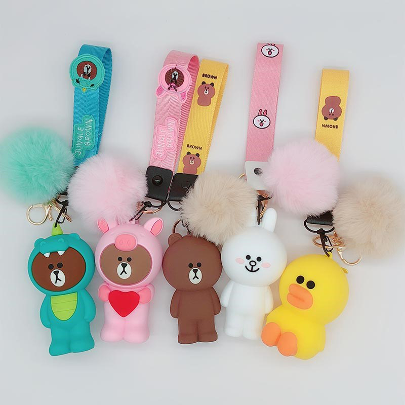 Cute Cartoon Silicone Keychain Pompom For Women Key Cover Key Caps Keyring Key Holder Kids Gift Key Chains Coin Purse With Strap