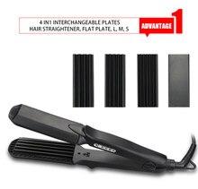 Fer à lisser en céramique 4 en 1, attelle de lissage, remplacement de la planche de maïs, tige de cheveux lisse, bigoudi (Standard américain)