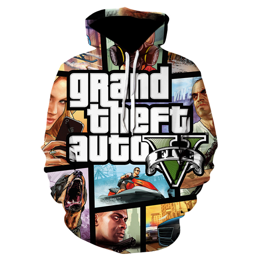 Hoodies Men GTA 5 Fashion Sweatshirt  Spring And Autumn  Cosplay Costume Casual Anime 3D Print Hoodies Men Cotton Hooded Tops