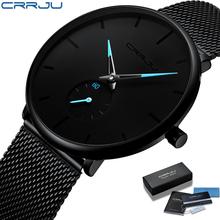 CRRJU-męski zegarek kwarcowy top markowy luksusowy mężczyźni na co dzień slim z siatką ze stali nierdzewnej wodoodporny sportowy tanie tanio 24cm Moda casual QUARTZ Rohs 3Bar Klamra z haczykiem CN (pochodzenie) STOP Hardlex Kwarcowe zegarki Papier STAINLESS STEEL
