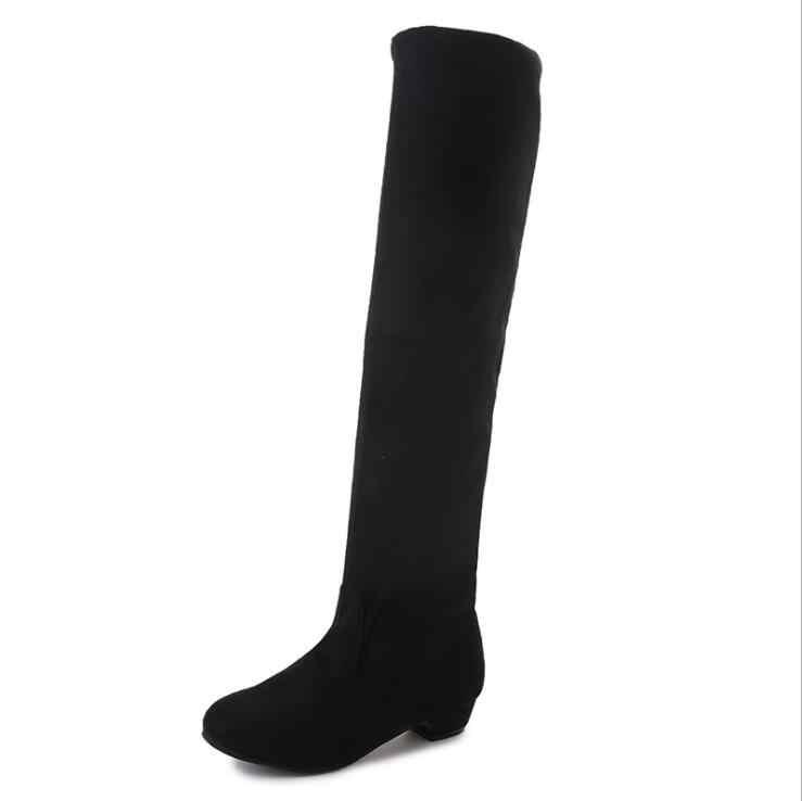 2019 Kadın Ayakkabı Elbise Diz Üzerinde Kışlık Botlar Kadın Süet Deri Çizme Bayan Uyluk Yüksek Çizmeler Bayan Kar Ayakkabı