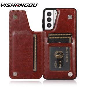 Image 1 - Retro PU Flip Leather Case For Samsung S21 A52 A51 A72 A71 A32 A12 A50 A70 S20 FE Note 20 Ultra S10 Plus Multi Card Holder Cases