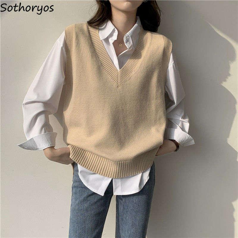 Женский Однотонный свитер-жилет с V-образным вырезом, простой приталенный Универсальный Повседневный свитер в Корейском стиле для подростк...