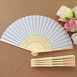 Image 2 - 50PCS Personalized Engraved Bamboo Folding Silk Hand Fan Customized Wedding Favor Birthday Baby Shower Holiday Gift For Guests