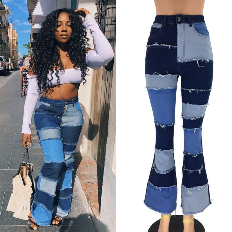 Women Fashion Patch Patchwork Skinny Jeans Casual Blue High Waist Flare Pants Plus Size Jeans Slim Trousers