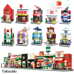 City Mini Street View 3D Model Building Blocks KFEC Cafe Apple Retail Store Architecture Bricks Toys For Children Gifts