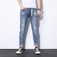2019 New Style Autumn MEN'S Trousers Men Casual Blue Jeans Fashion Capri Pants