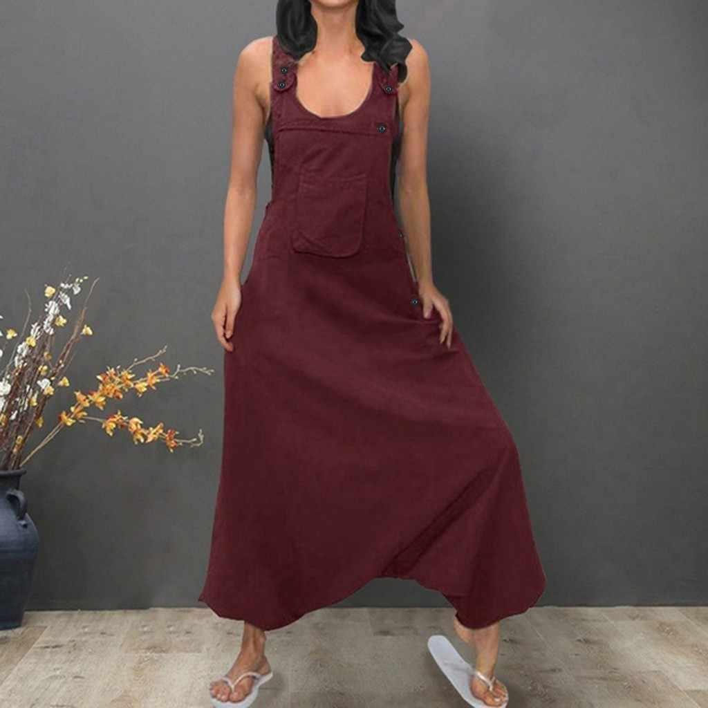 Frauen Overall Plus Größe Frauen U Neck Sleeveless Backless Einfarbig Taschen Baggy Lange Overalls Overalls Für Frauen Sommer