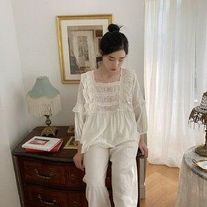 Image 3 - Üstün yumuşak keten pamuk kadın yay pijama setleri kadın gevşek sevimli pijama bahar sonbahar rahat pijama artı boyutu