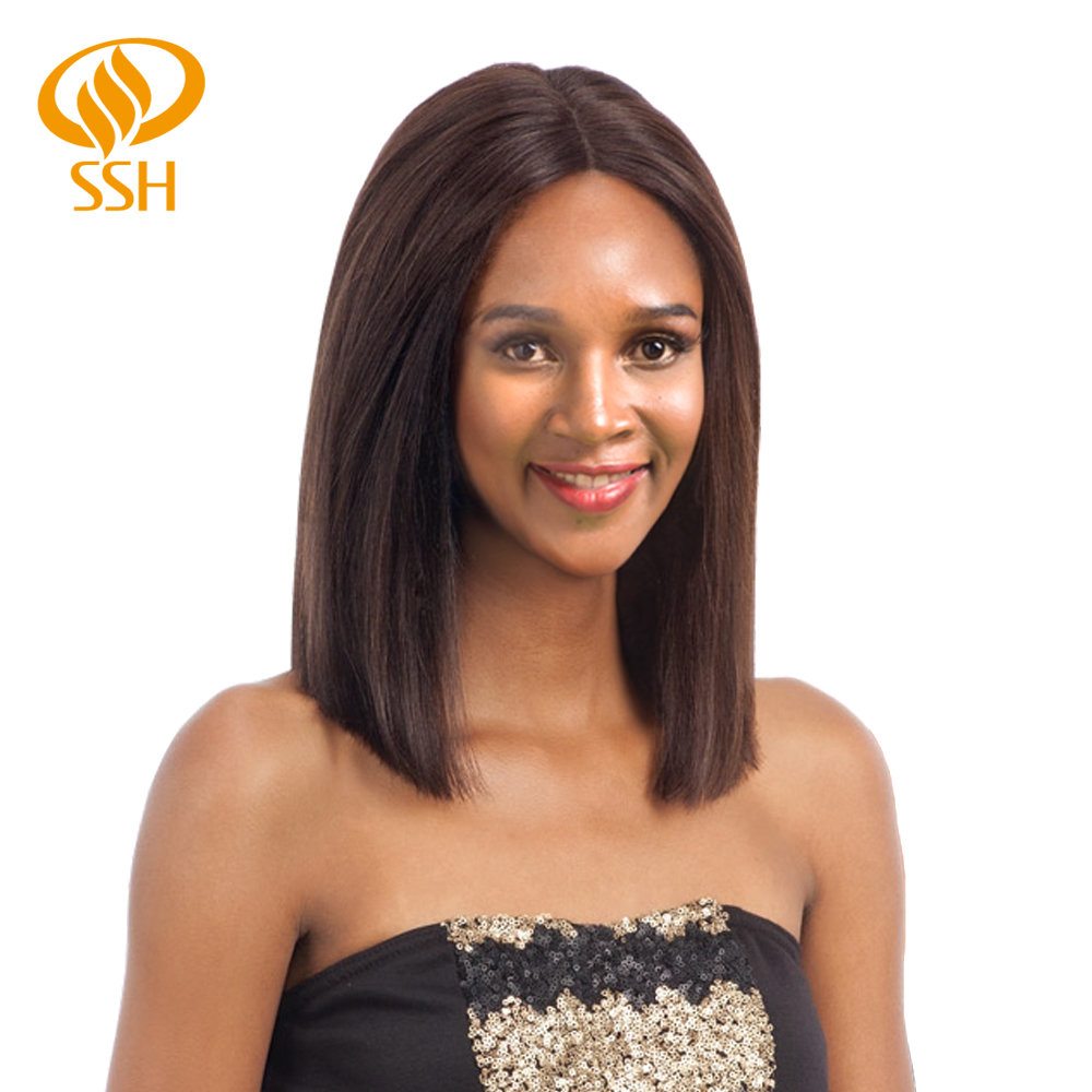 SSH Non-Remy Straight Short Bob Wig  Human Hair Lace Closure Wigs Natural Black Color For Women