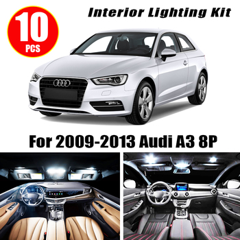 цена на 10pcs white canbus Car Interior lamp LED Light Bulbs Package Kit Kit for 2009-2013 Audi A3 8P Map Dome Trunk Lamp