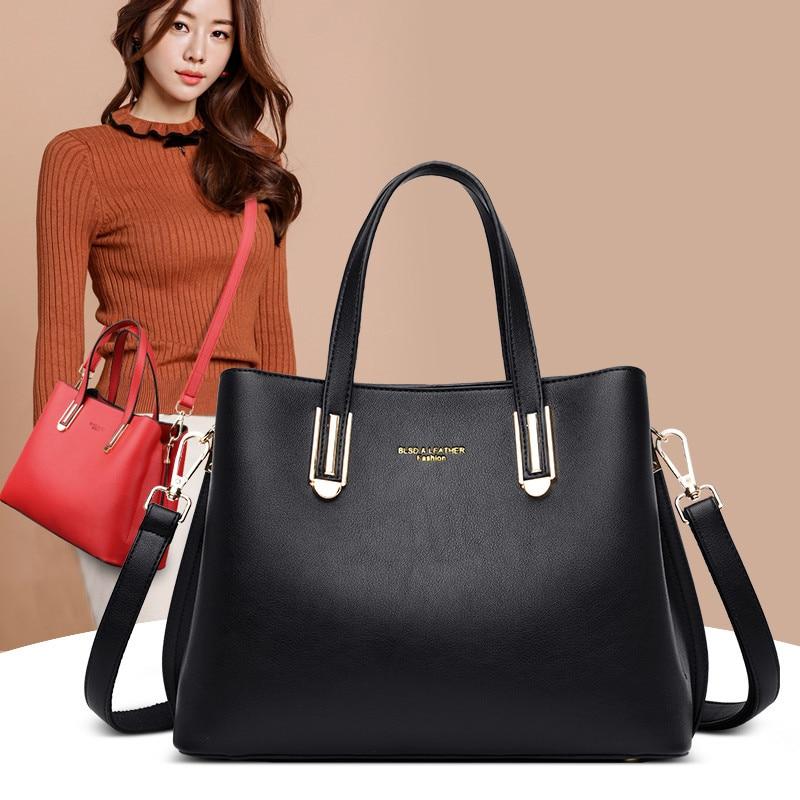 2020 Women Handbag Quality Leather Large Casual Totes Bags Black Luxury Female Shoulder Bags Ladies Fashion Crossbody Hand Bags