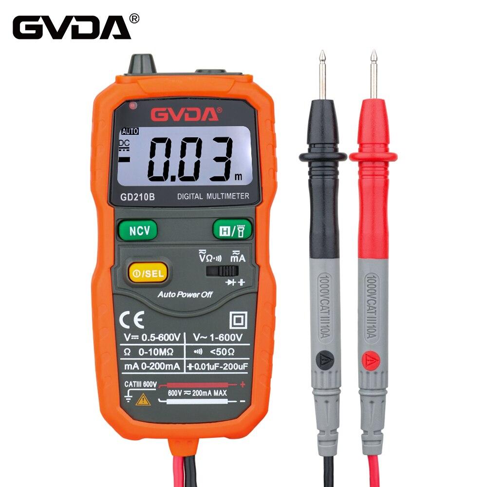 GVDA NCV Цифровой мультиметр 6000 отсчетов Авто Диапазон Multimetro тестер AC DC напряжение Емкость Ом Гц метр с вспышка светильник