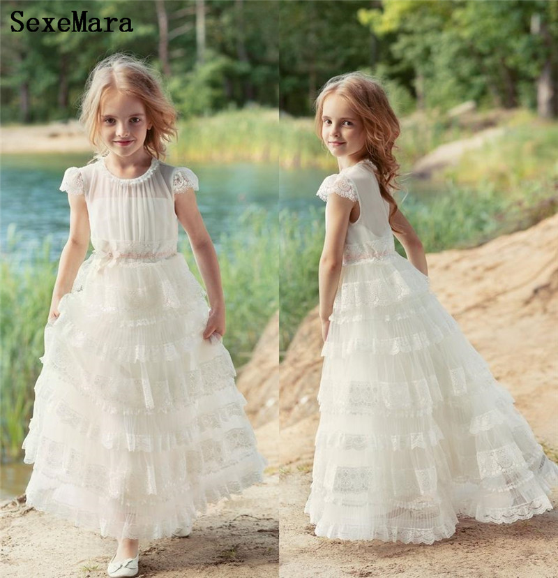 Flower Girls Dresses Ivory White First Communion Dresses Communion Party Prom Princess Pageant Gown Kids Clothes Size 2-16Years