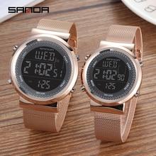 SANDA часы для пары, высокое качество, нержавеющая сталь, золотые наручные часы для мужчин и женщин, браслет, женские часы, кварцевые часы, Reloj Hombre Lover Saat