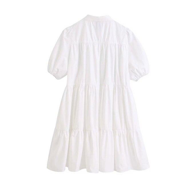High Quality Women 2020 Sweet Fashion Ruffled White Mini Dress Vintage Lapel Collar Puff Sleeve Female Dresses Chic Vestidos 2