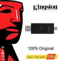Kingston USB 3.2 Gen 1 32GB 64GB DataTraveler Duo Pendrive Disk Stick USB tipo-a e USB tipo-c Pen Drive DTDE USB Flash Drive