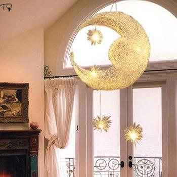 Light Moon Star Lamp Creative Romantic Aluminium Wire Metal Pendant Lights Led Industrial Dreamy Kids Room Bedroom Dining Room