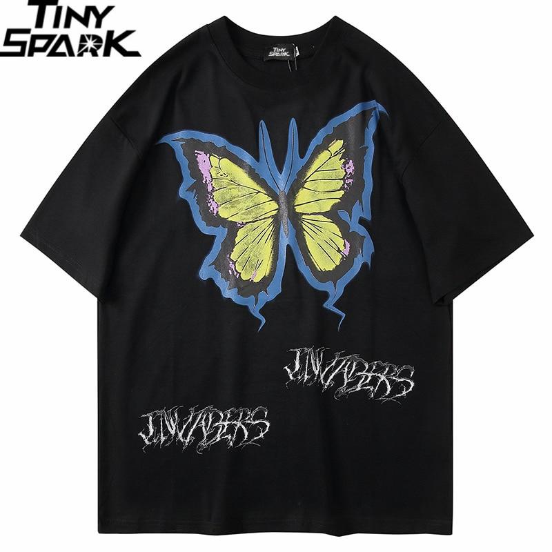 Oversize T Shirt Hip Hop Men 2020 Tshirt Butterfly Streetwear Harajuku Summer Short Sleeve T-Shirt Cotton Tops Tees Loose HipHip