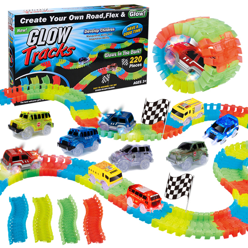 220 Pieces DIY Race Glow Tracks, Flexible Bendable Dark Glow, Assembling Twister Toy Set With 2 LED Flashing Headlights Cars