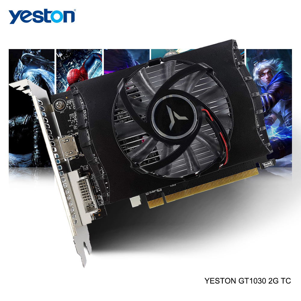Yeston GeForce GT 1030 GPU 2GB GDDR5 64 Bit Gaming Desktop Computer PC Video Graphics Cards Support