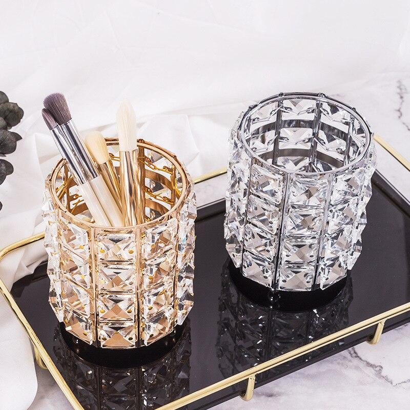 Fashion Women Makeup Brush Bucket Crystal Makeup Brush Organizer Storage Bucket Eyebrow Pencil Pen Cup Tools Container