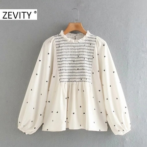 Zevity New Women Sweet Agaric Lace Hearts Print Elastic Smock Blouse Office Ladies Lantern Sleeve Shirts Chic Blusas Tops LS7272