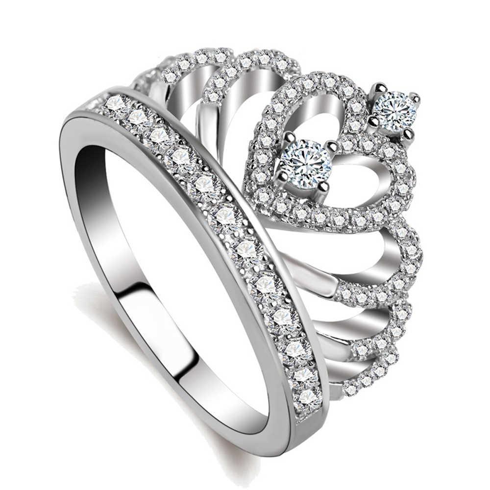 925 סטרלינג Zilveren Aristocratische קרון Hartvormige AAA Zirkoon Edelsteen טבעת גבירות Elegante Balring גבירות Beste Cadeau