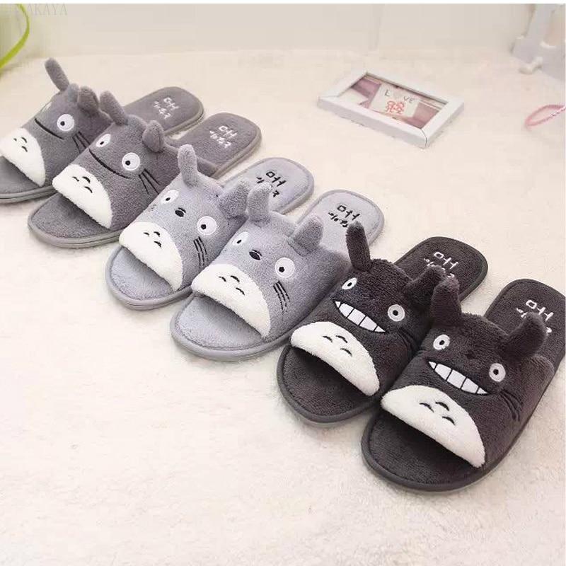 cute Totoro Cartoon Plush Winter slipper Couple Children's Lovely Home Chinchillas Non-slip Bedroom Warm Totoro Slippers Shoes