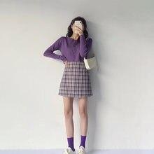 Фиолетовая клетчатая юбка милая весенне летняя 2021 Женская