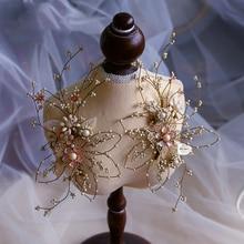 Himstory Handmade Gorgeous Wedding Hair Sticks Baroque LeavesCrystal Brides Headbands Evening Hair Jewelry Bridal Hair Accessory цена 2017