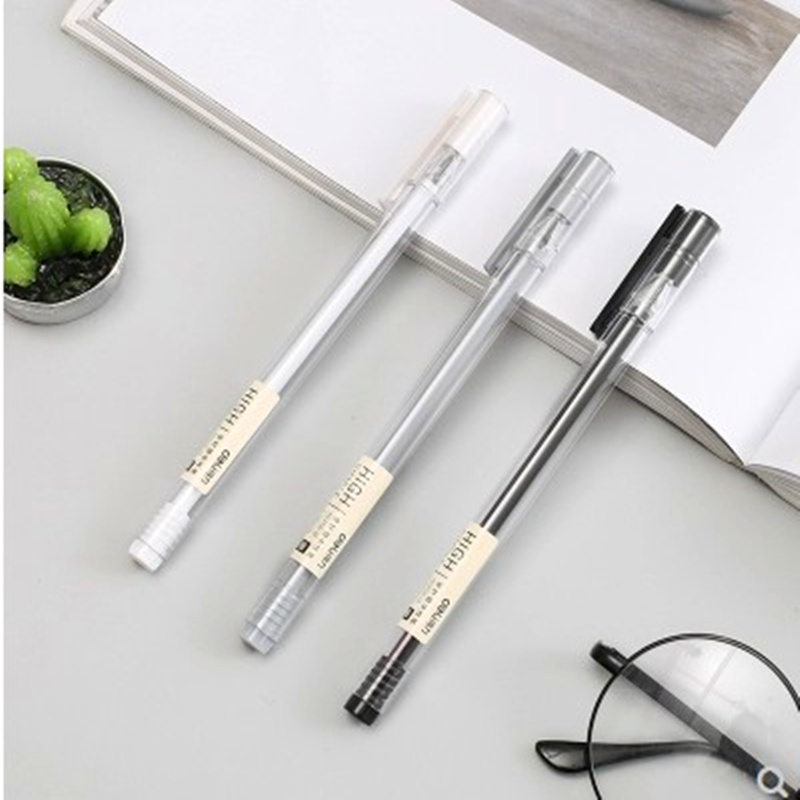 2 Pcs / Lot Simple Muji Style Pen New Gel Pen 0.38 Mm Black Ink Needle Head Writing Tools For Students