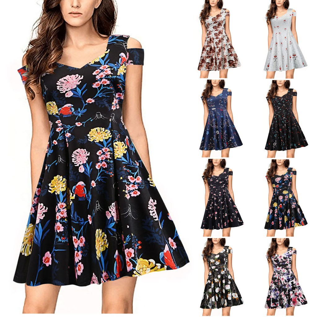 Women's Beach Dress Casual V-Neck Bohemian Print Off-Shoulder Short Sleeve High Waist Party Dresses Sundress Vestidos Summer #Z4