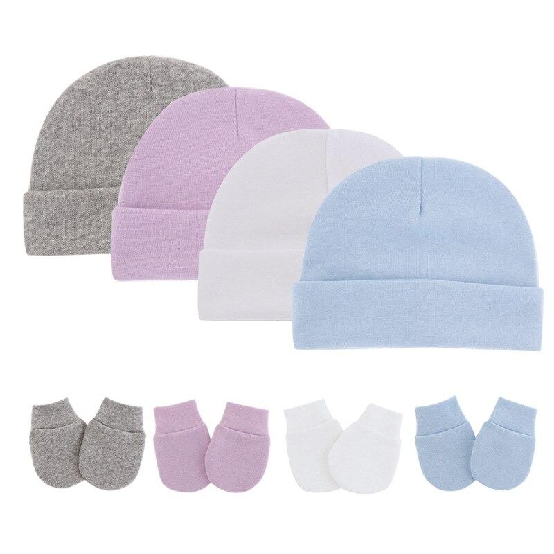 3 шт./лот, Детские одноцветные хлопковые шапка и перчатки для новорожденных; Детские Зимние теплые хлопковые кепки на весну-осень для малыше...