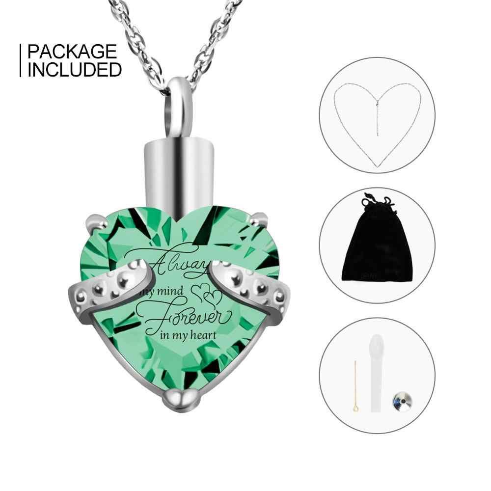 SOITIS zawsze w moim umyśle na zawsze w moim sercu biżuteria do kremacji w kształcie serca naszyjnik z wypełnieniem Birthstone Keepsake