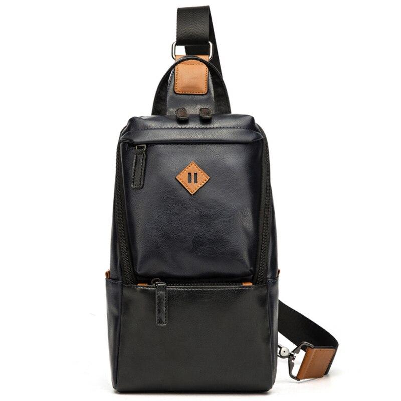 VORMOR Men's Large Capacity Chest Sling Bag Travel Hiking Cross Body Messenger Shoulder Bags Solid Men Leather Bag