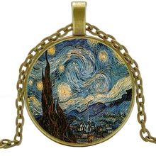 2019/ Oil Painting Starry Night Pendant Necklace Vincent Van Gogh Bronze Vintage Best Friend Gift