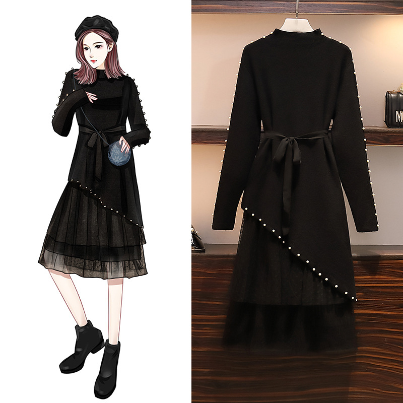 XL-5XL pull maille robe grande taille femmes coréenne grande taille hiver robe deux pièces ensemble noir longue robe grande taille vêtements 2019