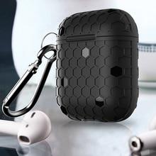 Grid Silikon Abdeckung Für Apple Airpods Fall Kopfhörer Zubehör Drahtlose Bluetooth Abdeckung Für iPhone Airpods Fall Mit Haken