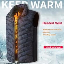 Jacket Outdoor Padded Waistcoat Heated-Vest Heating Electric Print Warm Fashion Winter