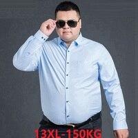 FAISIENS high quality Men's Dress Shirt long Sleeve 10XL 12XL 14XL Pink Blue 6XL 7XL 8XL Formal Casual oversize Men Shirt 54 60