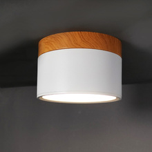 Macaroon Iron+Wood LED Ceiling Light 5W 12W Surface Mount Spot for Bar Kitchen