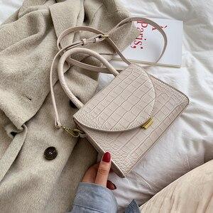 Image 2 - 石のパターンpuレザー女性のためのクロスボディバッグ2021高級品質ショルダーシンプルなバッグ女性デザイナーハンドバッグトートバッグ