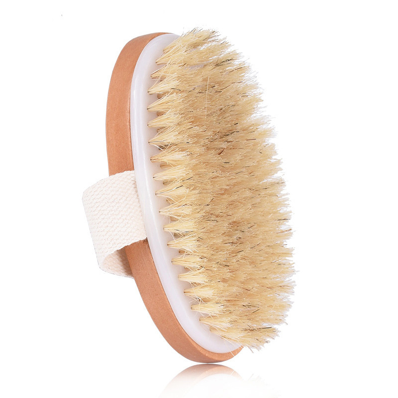 1pc Body Dry Brush Natural Boar Bristle Organic Dry Skin Body Brush Bamboo Wet Back Shower Brushes Exfoliating Bathing Brush